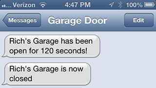 Garage door SMSing