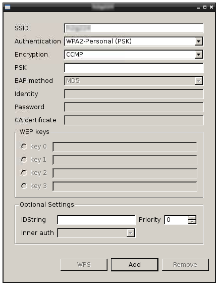 wpa_gui dialog to add a network